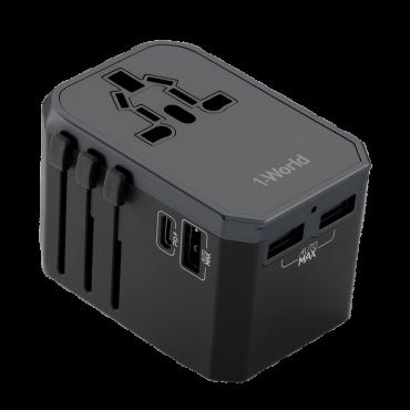 محول 4-PORT 1XUSB-C PD 30W + 3X USB-A 18W MOMAX - رمادي
