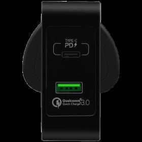 مقبس شحن 2-PORT FAST CHARGING ADAPTOR USB-C PD+QC3.0 MOMAX - أسود