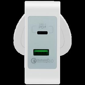 مقبس شحن 2-PORT FAST CHARGING ADAPTOR USB-C PD+QC3.0 MOMAX - أبيض