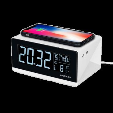 ساعة رقمية مع شاحن لاسلكي MOMAX - أبيض