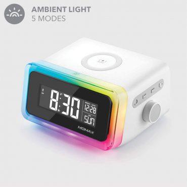 ساعة رقمية مع شاحن لاسلكي Q.CLOCK 2 MOMAX - أبيض