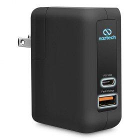 مقبس طاقة USB-C 18 واط مع منفذ شحن سريع NAZTECH - أسود