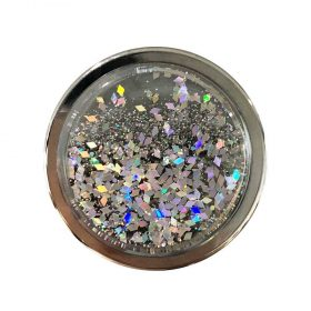 مسكة موبايل Nuckees Stand and Grip - Liquid Glitter Silver Diamonds