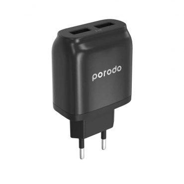شاحن جداري Porodo Dual USB Wall Charger 2.4A EU - أسود