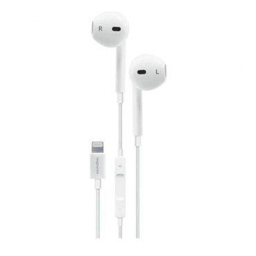 سماعة Porodo - Soundtec Stereo Earphones with Lightning Connector 1.2m - أبيض
