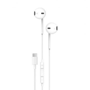 سماعة Porodo - Soundtec Stereo Earphones Type-C with High-Clarify Mic - أبيض