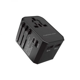 Powerology Universal Travel Adapter 2.4A + PD 45W - Black