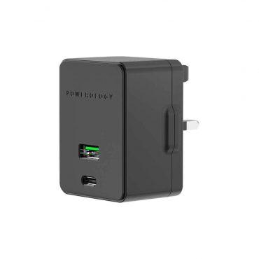 شاحن Dual Port Ultra-Quick PD Charger 36W Powerology - أسود