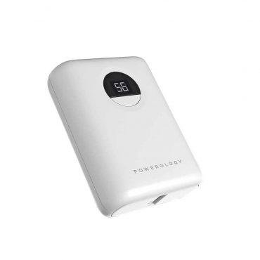 باور بانك Powerology Ultra-Compact Power Bank 10000mAh PD 18W - أبيض