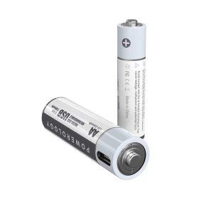 بطارية Powerology - USB Rechargeable Lithium-ion Battery AA ( 2pcs/pack ) 1500mAh / 2250mWh