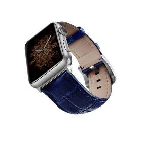 حزام جلد لساعة آبل 44 ملم/ 42 ملم - أزرق / فضي