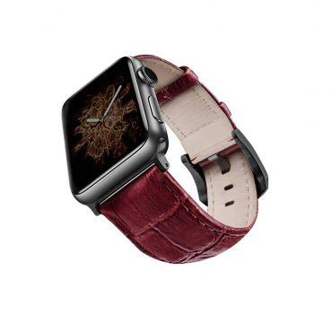 حزام جلد لساعة آبل 44 ملم/ 42 ملم - أحمر / أسود