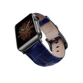 حزام جلد لساعة آبل 44 ملم/ 42 ملم - أزرق / أسود