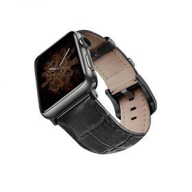 حزام جلد لساعة آبل 44 ملم/ 42 ملم - أسود / أسود
