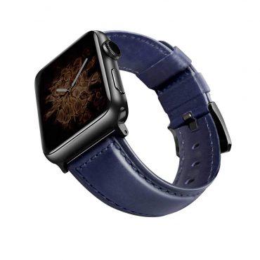 حزام جلدي أصلي Montre Cordovan  لساعة آبل 42 ملم/ 44 ملم من Viva Madrid - أزرق / أسود