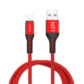 كيبل WIWU WP202 LIGHTNING TO USB CABLE MFI FAST DATA CABLE 2.4A 1.2M - RED