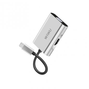 الهاب WIWU ALPHA 2 IN 1 USB-C HUB A20VH - GREY