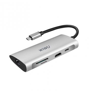 الهاب WIWU ALPHA 8 IN 1 USB-C A831HRT-GRAY