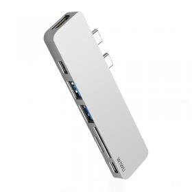 الهاب WIWU T08 USB TYPE-C 7 IN 1 HUB ALUMINUM CASE - GRAY