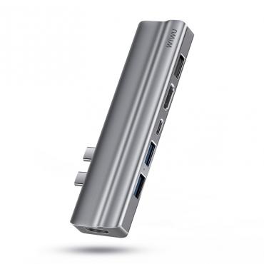 الهاب WIWU T9 8 IN 1 USB-C HUB ALLUMINUM ALLOY CASE- GRAY