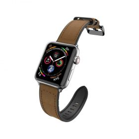 حزام ساعة X-Doria - Hybrid Leather Band for Apple Watch 42mm/44mm - بني