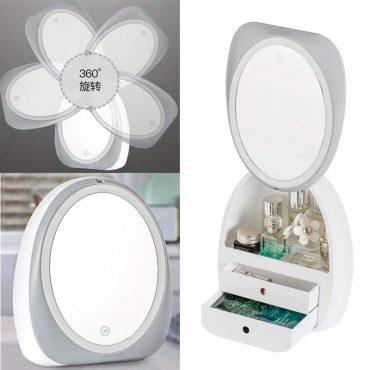 بوكس تنظيم المكياج بمرآة ليد من شاومي Mirror Makeup Box Organizer